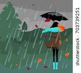 girl in the rain. vector... | Shutterstock .eps vector #703739251