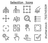 selection icon set in thin line ...