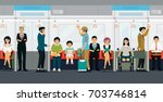 people stand and sit on the... | Shutterstock .eps vector #703746814