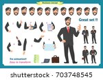 businessman character. poses... | Shutterstock .eps vector #703748545