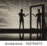 concept of a narcissistic and... | Shutterstock . vector #703750375