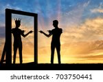concept of a narcissistic and... | Shutterstock . vector #703750441