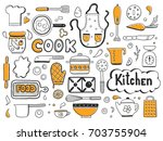 set of hand drawn doodle with... | Shutterstock .eps vector #703755904