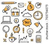 set of hand drawn business... | Shutterstock .eps vector #703756075