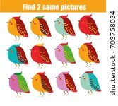 Stock vector find the same pictures children educational game find equal pairs of birds kids activity animals 703758034