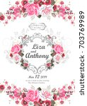 wedding invitation with pink... | Shutterstock .eps vector #703769989
