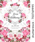 wedding invitation with pink... | Shutterstock .eps vector #703769995