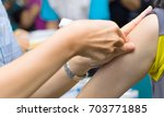 close up hand's nurse using... | Shutterstock . vector #703771885