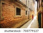 Narrow Street In Kathmandu Old...
