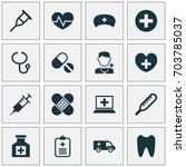 medicine icons set. collection... | Shutterstock .eps vector #703785037