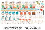retirement couple.happy senior... | Shutterstock .eps vector #703795681