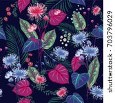 trendy  floral pattern in the... | Shutterstock .eps vector #703796029