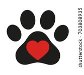 trail of dog with heart on...   Shutterstock .eps vector #703808935