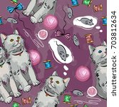 cheerful kittens seamless...   Shutterstock .eps vector #703812634
