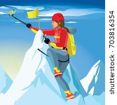 happy climber reached the... | Shutterstock .eps vector #703816354