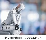 3d Rendering Android Robot Sit...