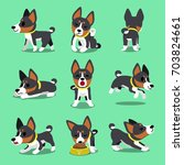 cartoon character basenji dog... | Shutterstock .eps vector #703824661