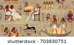 egyptian gods and pharaohs... | Shutterstock .eps vector #703830751