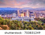 salt lake city skyline utah at...