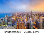 aerial view of chicago downtown ...   Shutterstock . vector #703831291