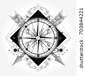 compass tattoo and t shirt... | Shutterstock .eps vector #703844221