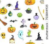 halloween doodle seamless... | Shutterstock . vector #703844935