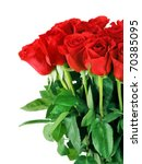 Stock photo bouquet of red roses isolated on white background 70385095