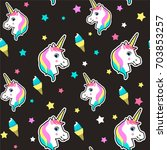 colorful cute seamless pattern... | Shutterstock .eps vector #703853257