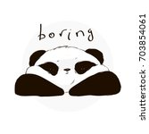 boring cute panda face in...