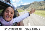 smiling young brunette woman in ...   Shutterstock . vector #703858879