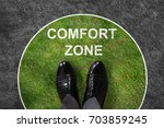 businessman standing on green... | Shutterstock . vector #703859245