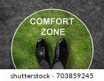 businessman standing on green... | Shutterstock . vector #703859245