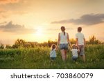 large family with children ... | Shutterstock . vector #703860079