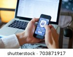 data security concept  mobile... | Shutterstock . vector #703871917