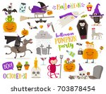 set of halloween sign  symbol ... | Shutterstock .eps vector #703878454
