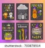 set of halloween posters or... | Shutterstock .eps vector #703878514