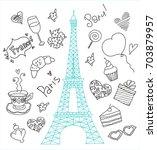 paris doodle set | Shutterstock .eps vector #703879957