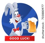 funny rabbit giving a toast...   Shutterstock .eps vector #703880977