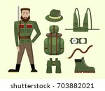 vector set of hunting and... | Shutterstock .eps vector #703882021