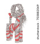 vector hand drawn yule goat or... | Shutterstock .eps vector #703882069