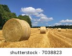 Hay Bales In A Field On A...