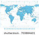 world map and navigation icons. ... | Shutterstock .eps vector #703884601