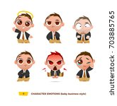 cute baby characters emotions... | Shutterstock .eps vector #703885765