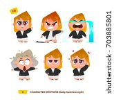 cute baby characters emotions... | Shutterstock .eps vector #703885801