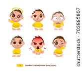 cute baby characters emotions... | Shutterstock .eps vector #703885807