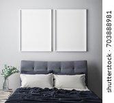mock up poster frame in hipster ... | Shutterstock . vector #703888981