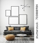 mock up poster frame in hipster ... | Shutterstock . vector #703888984