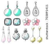 hand drawn earrings set. icons... | Shutterstock .eps vector #703891411