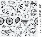seamless pattern sport fitness... | Shutterstock .eps vector #703891705