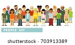 people characters set in flat... | Shutterstock .eps vector #703913389